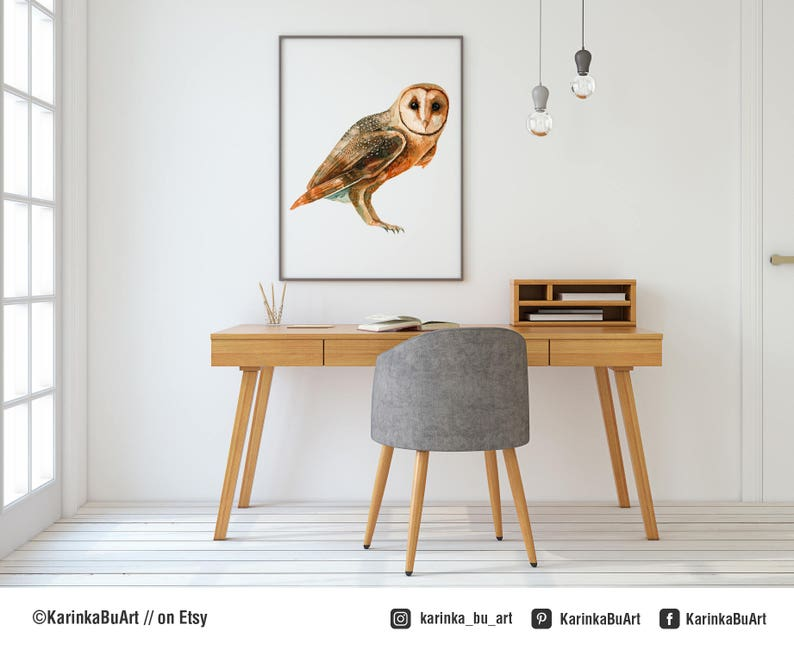 Barn Owl Print Woodlands Owl watercolor Woodland Nursery ...