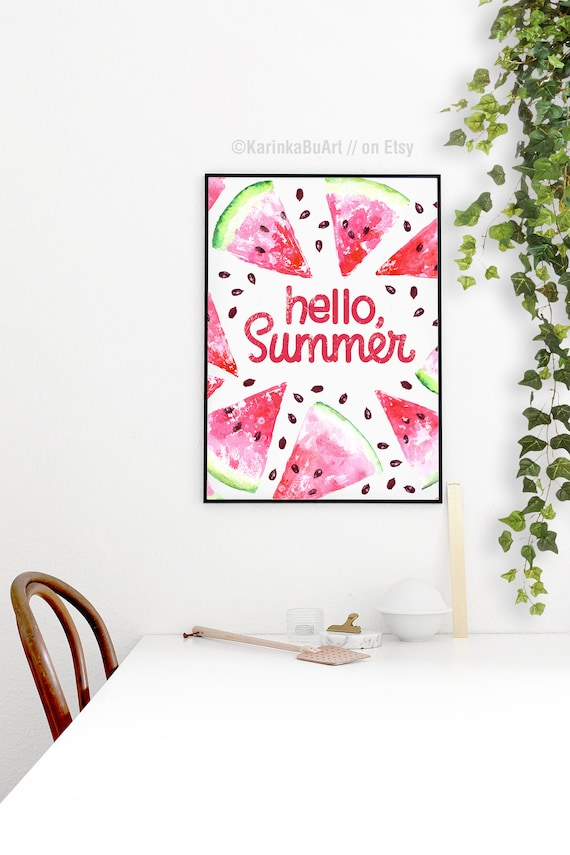 Watercolor Watermelon Art Hello Summer Quotes Poster Kitchen Etsy
