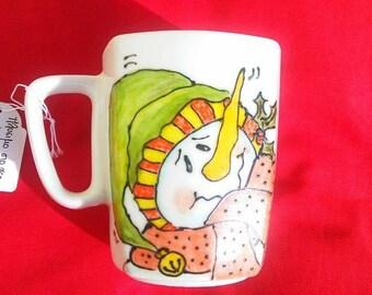 Handpainted mug with sweet snowman, perfect Christmas gift.