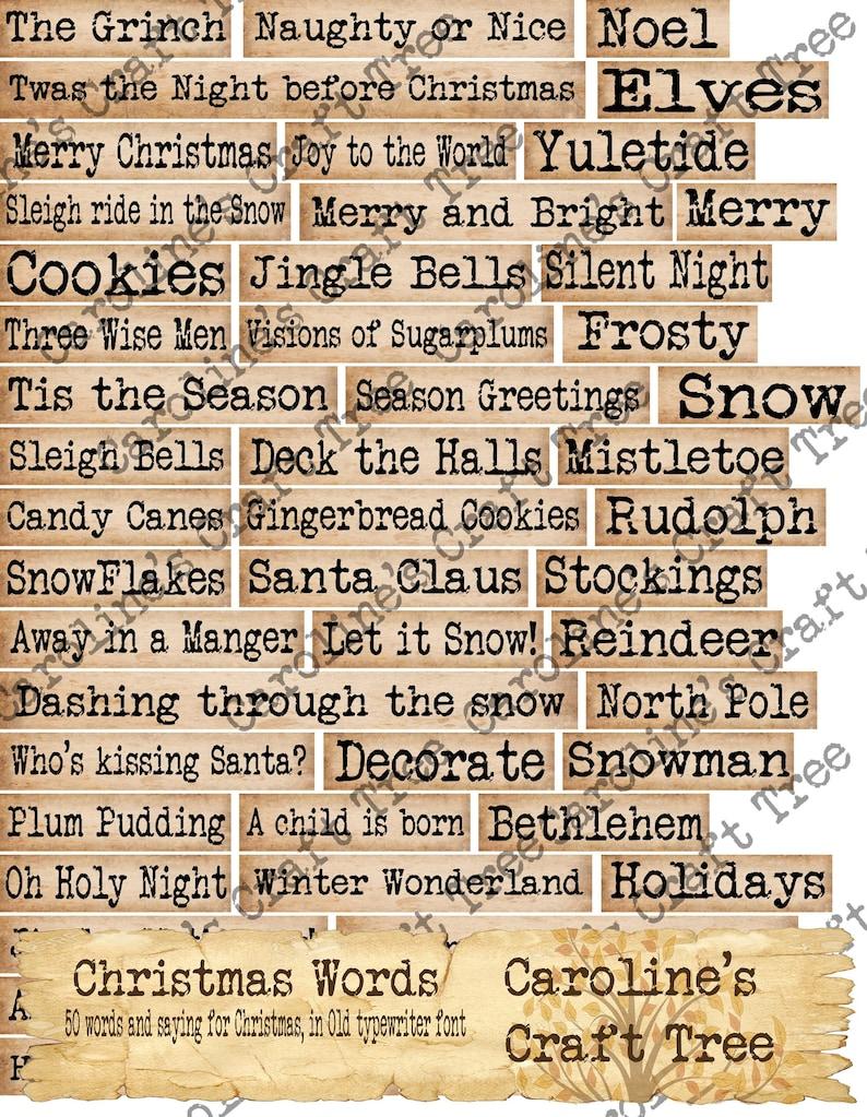 Christmas words, Old Typewriter font, printable, download ephemera, junk  journals, journaling, scrapbooking, mixed media, embellishment