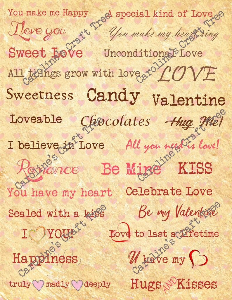 photo about Fonts Printable named Valentine enjoys terms in the direction of minimize aside, fonts, printable, down load ephemera, junk magazines, journaling, sbooking, blended media, embellishment