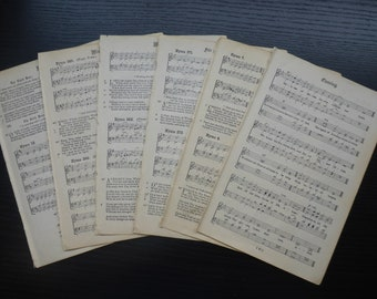 12 pages from vintage music book