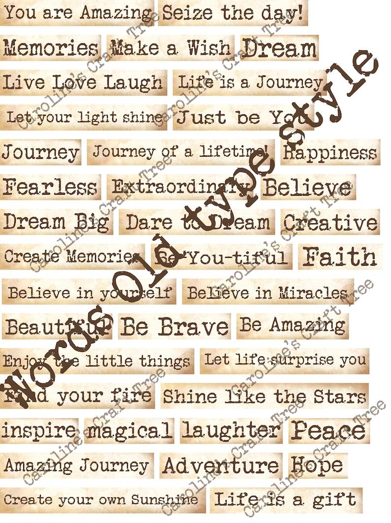Inspirational words, Old Typewriter font, printable, download ephemera,  junk journals, journaling, scrapbooking, mixed media, embellishment
