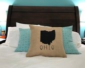 Burlap State Pillow