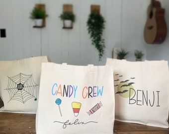 Canvas Halloween Bag, candy bag, trick or treat bag personalized tote bag