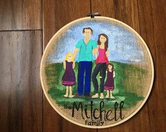 """Custom 10"""" Family Portrait Hoop"""