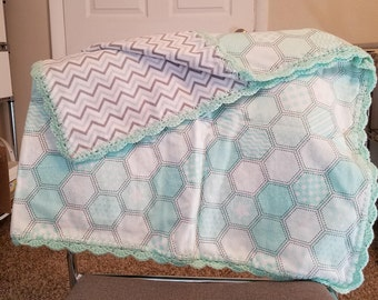 Hexagonal Flannel Baby Blanket