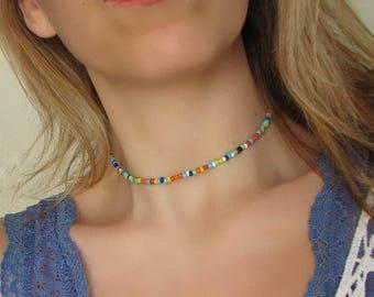 Choker Necklace Beaded Choker Rainbow Choker Boho Choker