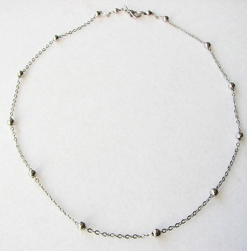 Silver Beaded Choker Silver Choker Chain Choker Chain Necklace