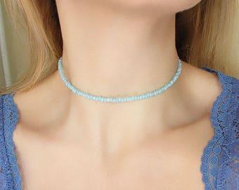 Aqua Choker Necklace Blue Beaded Choker Dainty Necklace Glass Choker