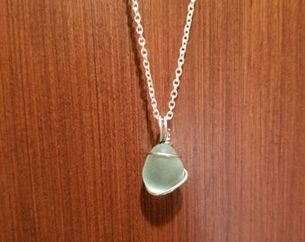 Teal Seaglass Necklace
