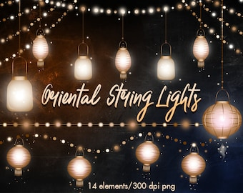 asian lanterns clipart string lights clipart chinese lights etsy