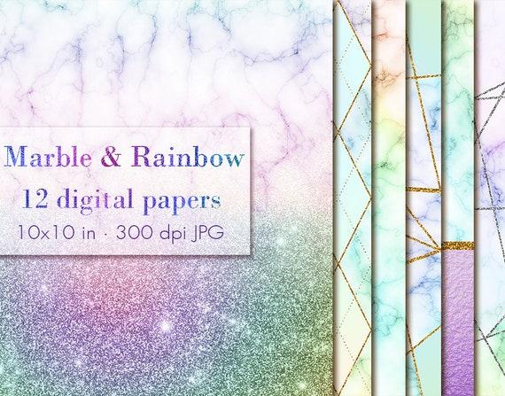 Rainbow Marble Glitter Digital Papers Rainbow Digital Papersrainbow Glitter Clipart Marble Wallpaper Rainbow Marble Digital Paper Pack