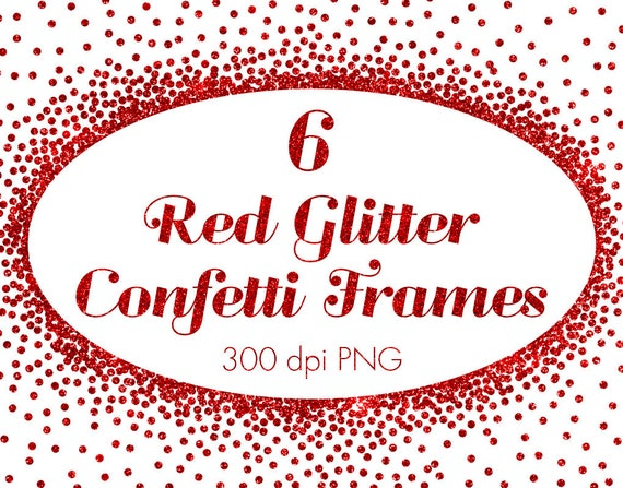 Red metallic confetti frames clipart red christmas confetti | Etsy