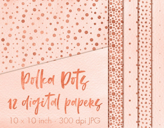 Polka Dots Digital Paper Rose Gold Dots Paper Pack Polka Dots Wallpaper Rose Gold Polka Dots Polka Dots Background Polka Dots Backdrop