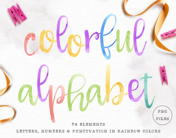 Baby sublimation design clipart Watercolor alphabet clipart Watercolor font Alphabet poster png 83 Alphabet print Baby rainbow lettering