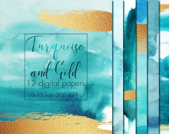 Turquoise and gold watercolor digital paper, Watercolor texture, Paper pack, Watercolor paper, Paint texture, Teal, Gold watercolor