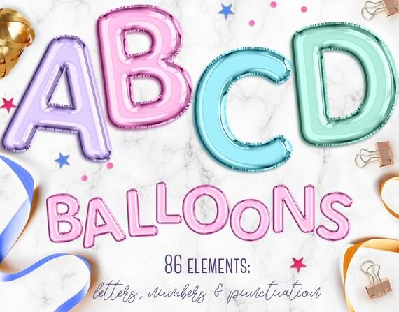 Balloon Letters Clipart Balloon Alphabet Clip Art Font Etsy