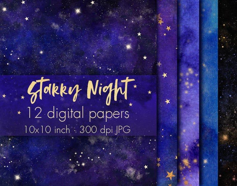 Night sky digital paper clipart, Night sky wallpaper, Night sky background,  Stars background, Stars wallpaper, Cosmic pattern, Starry night