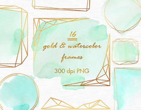 Gold And Mint Watercolor Frames Mint Green Frames Gold Etsy