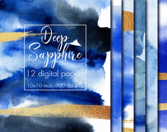 Deep blue and gold watercolor digital paper, Watercolor texture, Paper pack, Watercolor paper, Paint texture, Sapphire blue, Deep blue