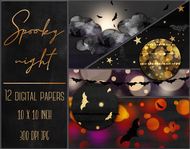 Halloween digital paper clipart, Spooky night, Halloween wallpaper,  Halloween background, Backdrop, Texture clipart, Papers with bats