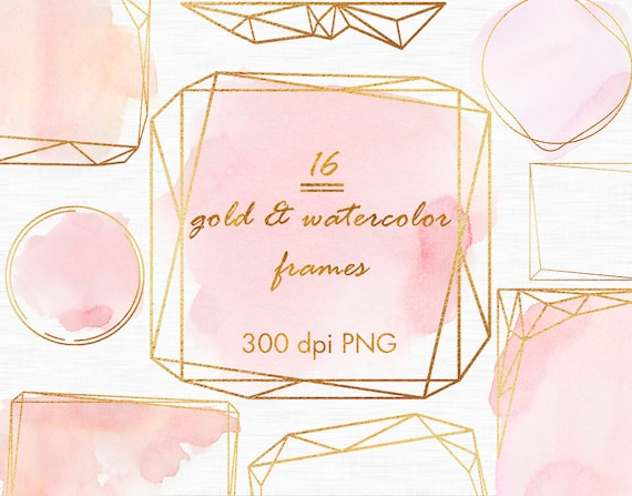 Gold And Pink Watercolor Frames Gold Overlays Gold Etsy