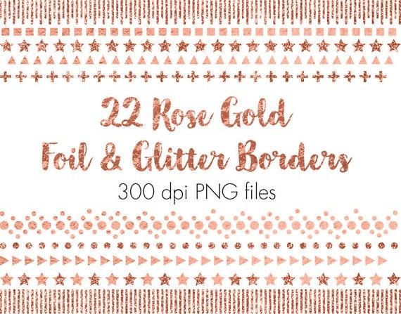 Rose Gold Confetti Borders Glitter