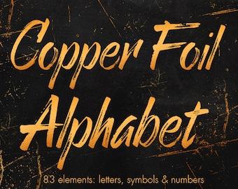 Copper alphabet clipart, Copper foil alphabet, Copper letters, Copper numbers, Copper font, Copper wedding clipart, 83 design elements