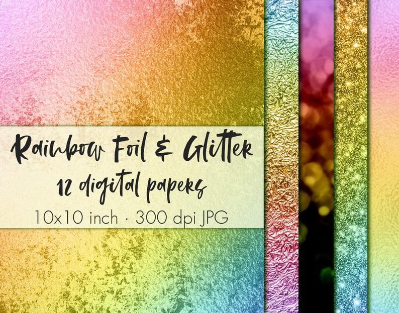 Rainbow foil and glitter digital paper, Rainbow digital papers, Rainbow  glitter clipart, Glitter wallpaper, Metallic foil paper pack