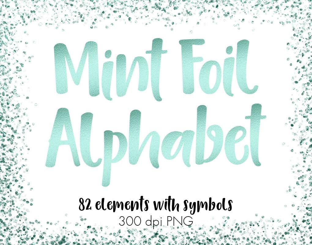 Mint Green Alphabet Clip Art Mint Foil Alphabet Mint Etsy