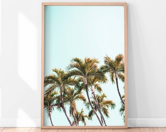 Palm Trees Printable, Palm Trees Art Print, Tropical Wall Art, California Print, Palm Tree Photography, Nature Art, Large Pastel Art Print