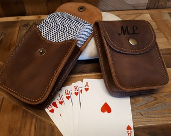 Leather Playing Card Case, Leather Card Sleeve, Playing Cards Travel Case, poker gifts, Poker Player Gifts, Engraved playing cards case