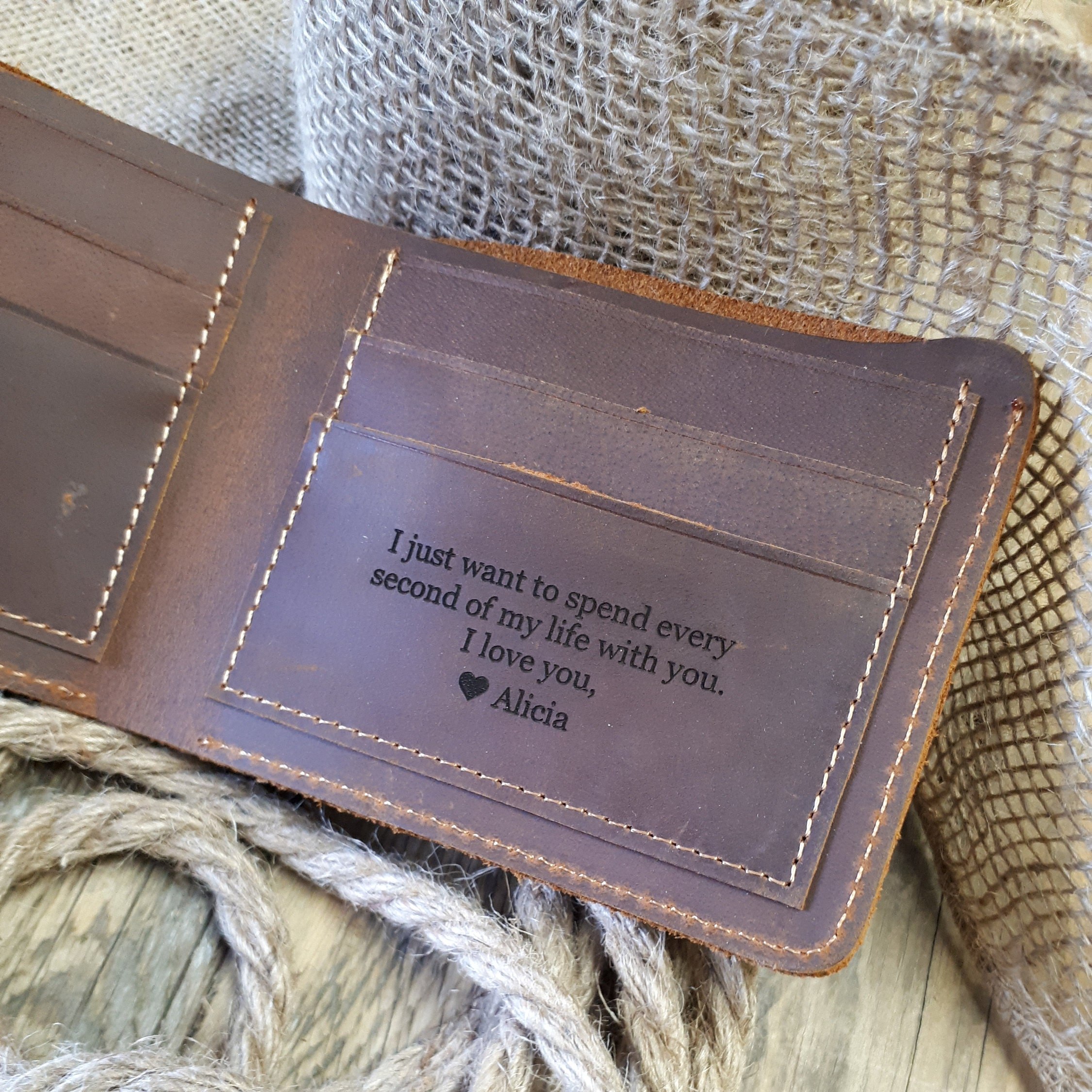 Personalized Leather Wallet Cowhide Leather