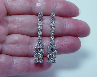 Vintage Platinum 3.3ct Colorless Diamond Long Earrings Estate