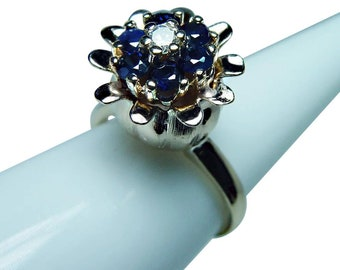 Vintage Sapphire Diamond Tulip Ring 14K Gold Estate