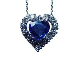 Vintage Platinum Ceylon Sapphire Heart Diamond Necklace Estate