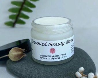 Unscented Beauty Butter — face moisturizer with argan, jojoba oil, and kokum butter. Normal to dry skin, day or night — organic ingredients.