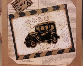 Dad's card. Fathers day card. Male card. Vintage car. Steampunk style card