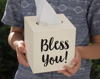 Bless You! Wood Tissue Box Cover
