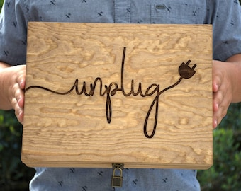 Personalized Unplug Box - Family Phone Lock Up - Wood Cell Phone Holder