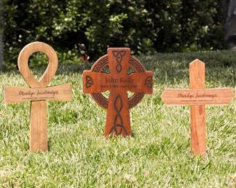 Memorial Cross for Your Loved One   Small Wood Burial Grave Marker   Variety of Styles