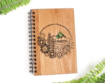 Mountains Personalized Wood Journal - Bamboo, Alder, Birch Options