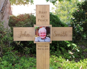 Photo Memorial Cross Personalized for Your Loved One