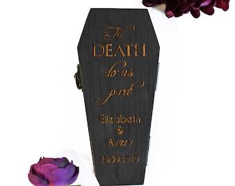 Coffin Ring Bearer Pillow Box - Til Death Do Us Part Engraved Cursive   Personalize Option