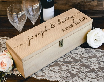 Wine Box with Lock - Custom Engraved with Name and Date