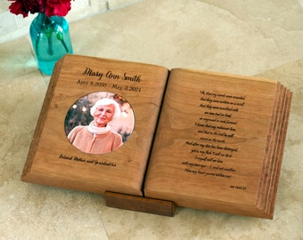 Memorial Book - Solid Wood Bible with Personalized Verse, Photo, Keepsake Sharing Urn