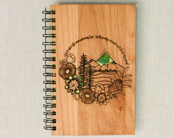 Mountains - Laser Cut Handmade Hand-Bound Wood Bullet Journal Personalized