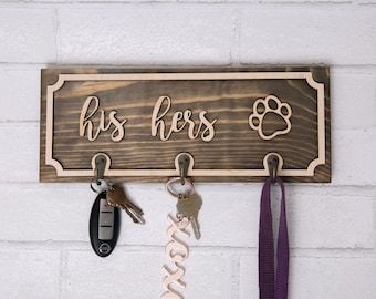Key and Leash Holder - Handmade  His Hers / Hers Hers / His His / Mr Mrs / Ours / Paw Print