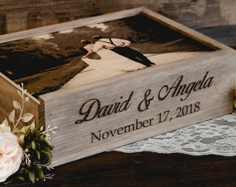 Wine and Letter Box Personalized Engraved with Custom Photo Print on Wood Lid, Names & Date